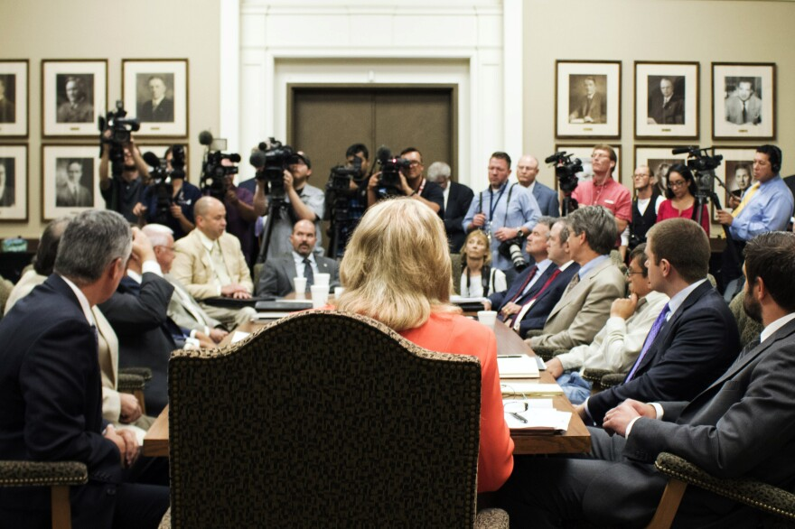 Oklahoma Gov. Mary Fallin answers media questions at the state Capitol in August after meeting with a council she formed to organize state resources related to the surge of earthquakes.