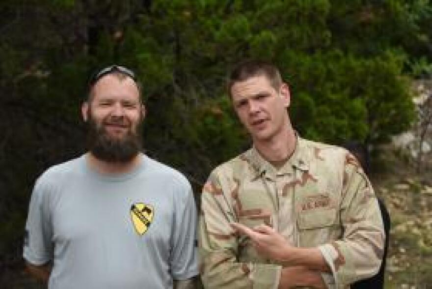 Army veteran Eric Bourquin, left, consulted on the mini-series. He is played by the actor Jon Beavers, right.