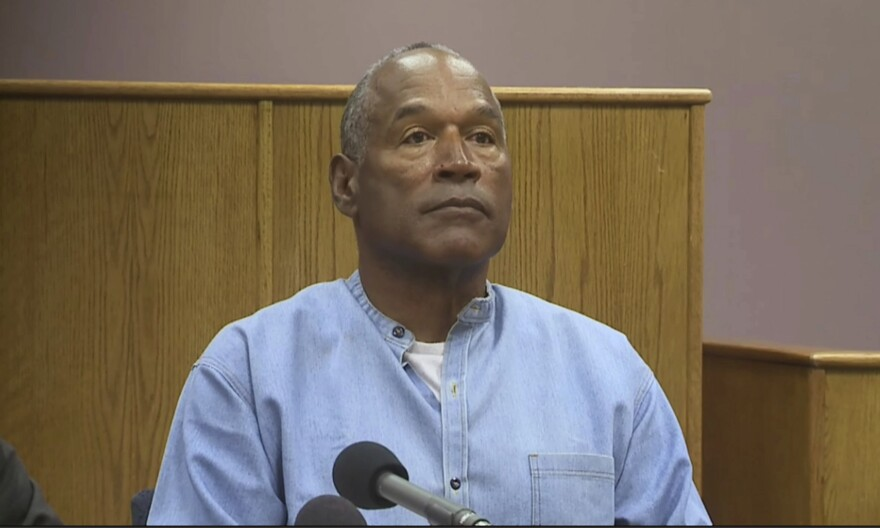 Former NFL football star O.J. Simpson appears via video for his parole hearing at the Lovelock Correctional Center in Lovelock, Nev., on Thursday.