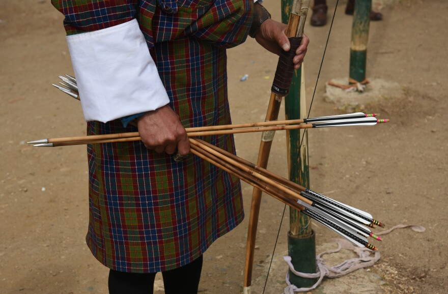 The arrows used in Bhutanese archery, like the bows, are made of bamboo. Archers says the basic equipment makes the game far more challenging than if they used sophisticated composite fiber-glass bows, which are noted for precision in hitting the target.