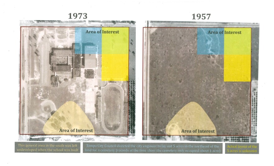 Aerial photographs highlighting the specific areas of interest surrounding King High School show what the plot of land looked like in 1957 and in 1973.