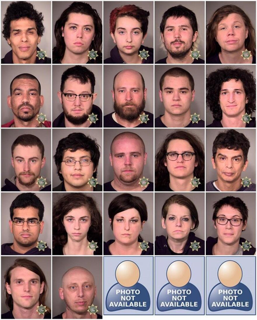 Mugshots of those arrested at Portland's May Day rally (not including three juveniles) were released by police. They face charges ranging from rioting to disorderly conduct.