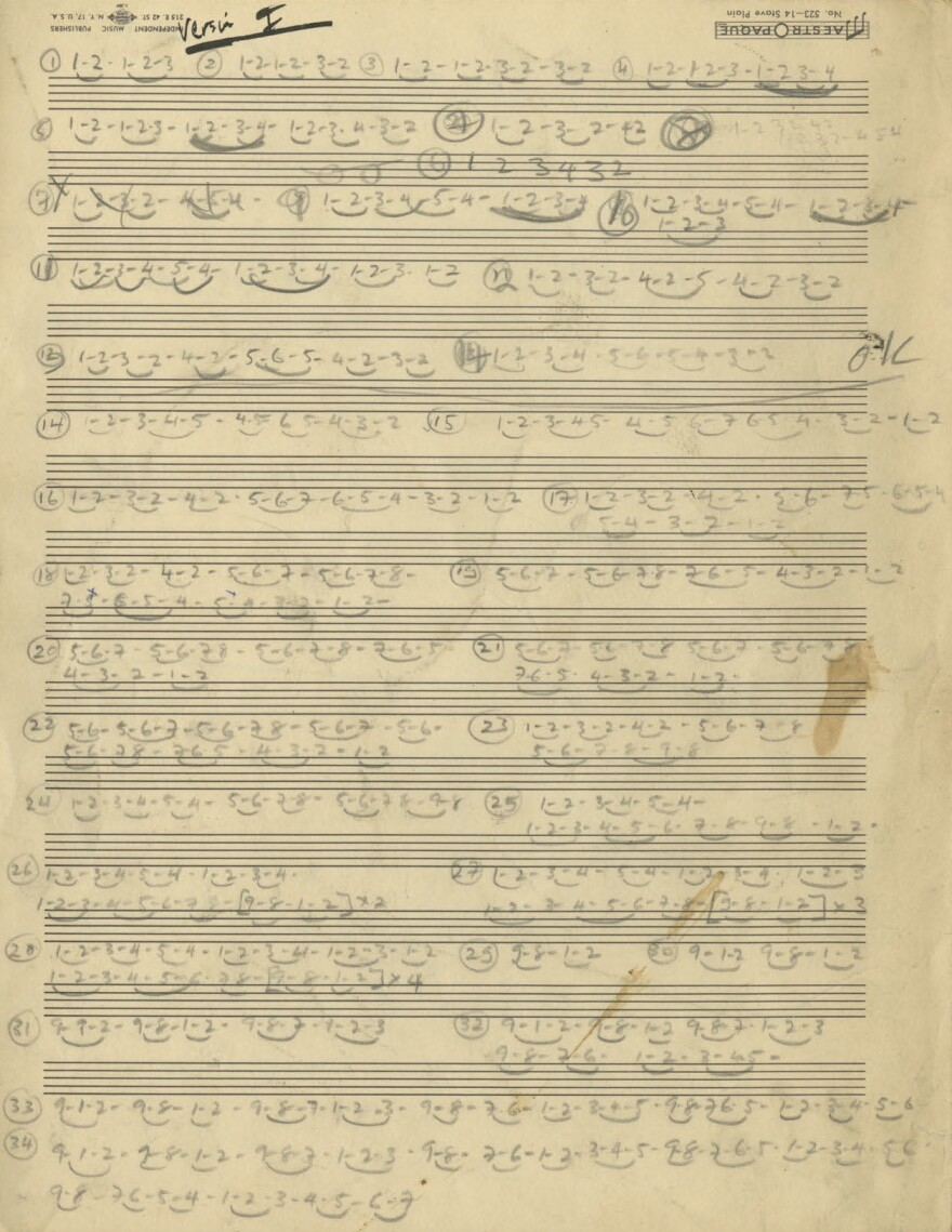 Glass' handwritten shorthand part for Music For Eight Parts.