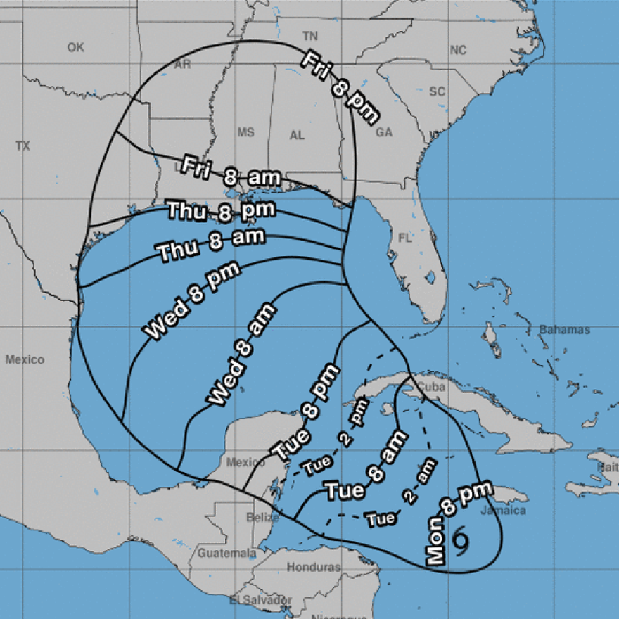 Hurricane Delta is forecast to blast through the Gulf of Mexico, making landfall in the U.S. on Friday.