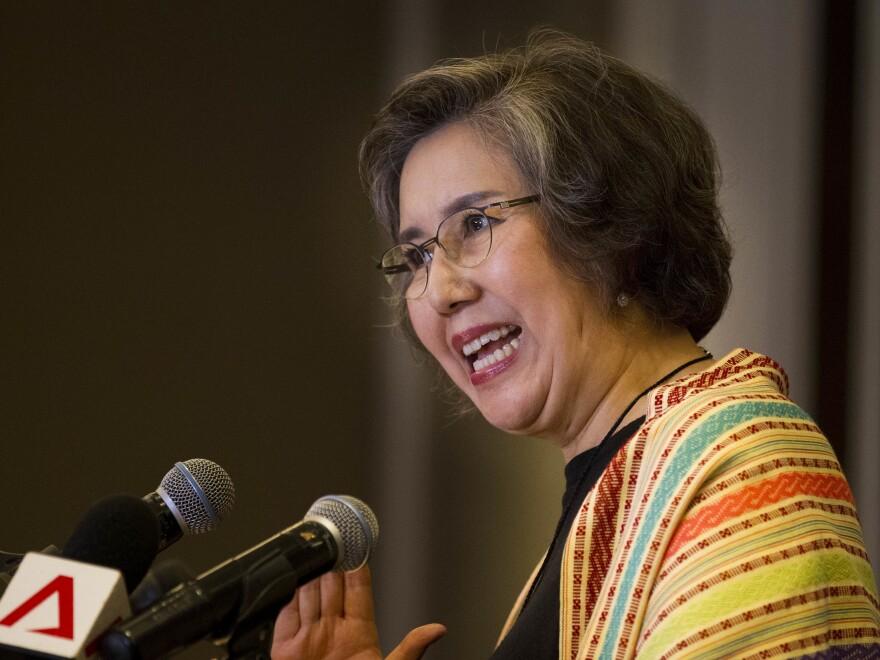 Yanghee Lee, U.N. human rights special rapporteur to Myanmar, talks to journalists during a news briefing in Yangon, Myanmar, in July.