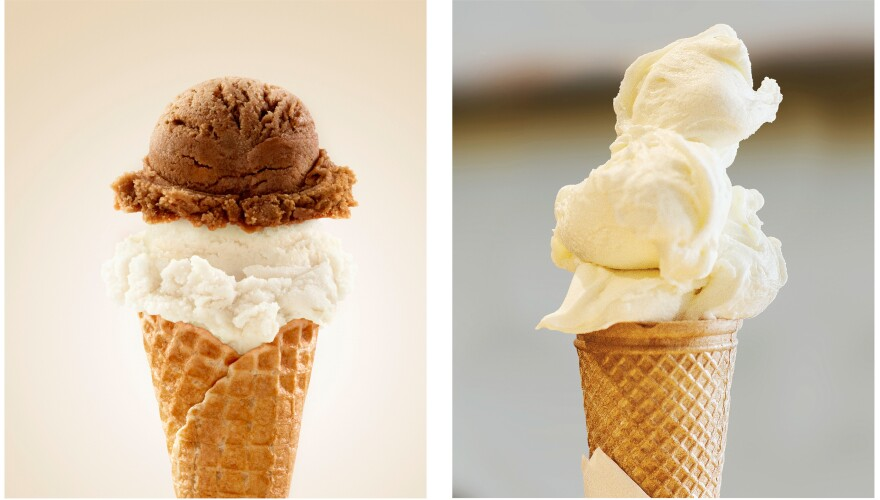 Higher butterfat content makes ice cream thick and heavy, which is why you can get a nice, round, firm scoop of ice cream, shown at left. Gelato, at right, has less cream, which gives you softer drifts.
