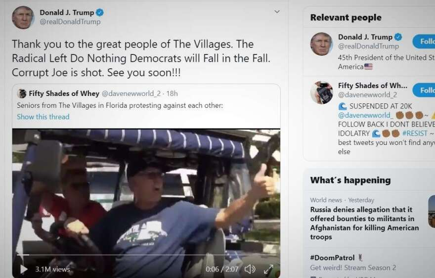 """President Donald Trump makes a shout-out to The Villages and, in the process, retweets a """"white power"""" remark on Sunday morning."""