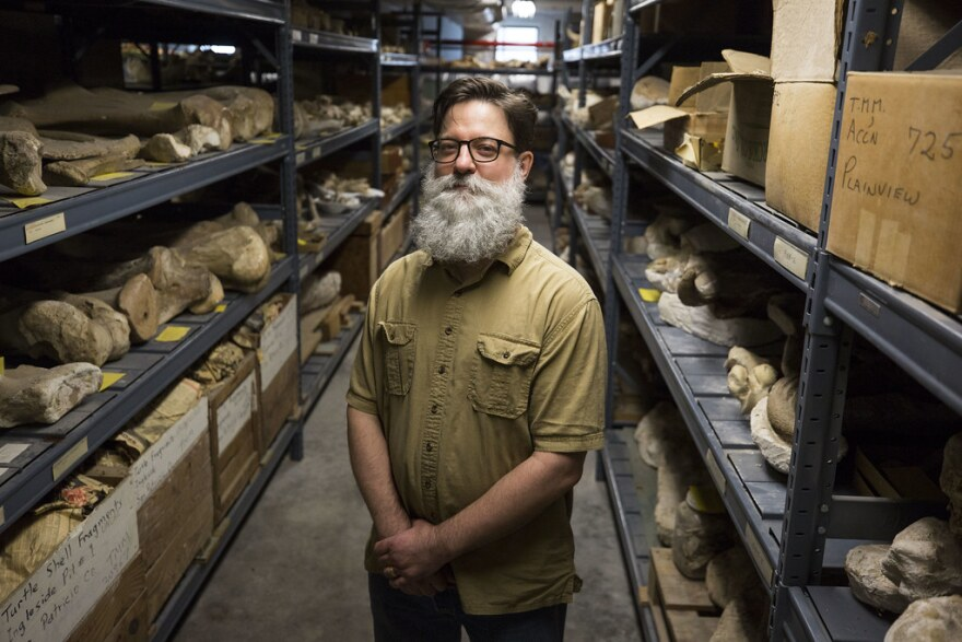 Chris Sagebiel, collections manager for the Texas Vertebrate Paleontology Collection.