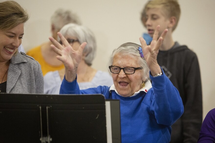Marcia Crosby sings with the Love Notes Chorus, a troupe made up of people with early memory loss, their caregivers and volunteers.