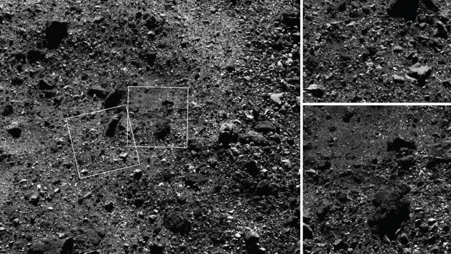 "This trio of images acquired by NASA's OSIRIS-REx spacecraft shows a region in Bennu's northern hemisphere. The larger image shows a 590-foot wide area with many rocks, including some large boulders (close-up shown top right), and a ""pond"" mostly devoid of large rocks (bottom right). The boulder is approximately the size of a humpback whale."
