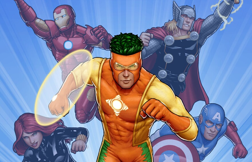 "A new comic features Captain Citrus teaming up with the Avengers to defeat a villain. The new superhero, who uses the power of the sun to generate ""energy items,"" is sponsored by Florida's citrus industry."
