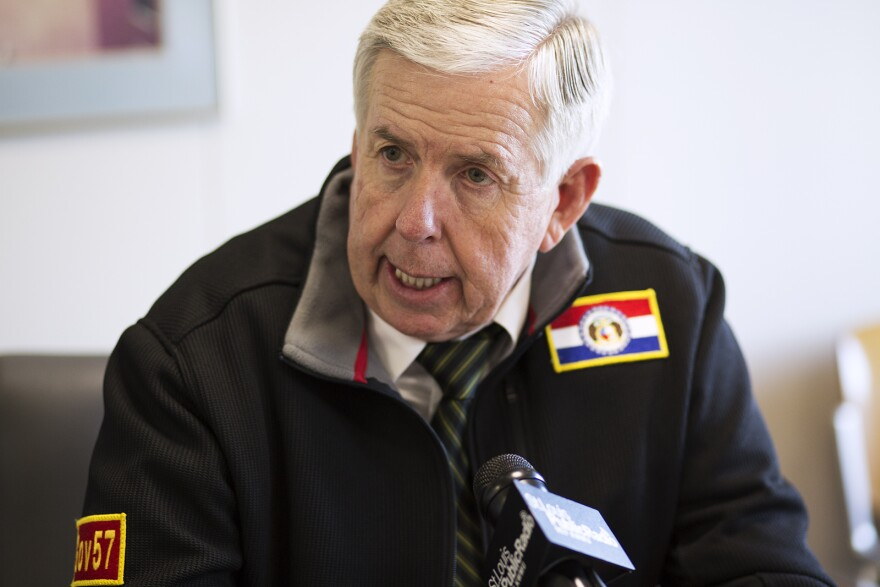 Missouri Gov. Mike Parson speaks with St. Louis Public Radio in downtown St. Louis on Nov. 14, 2019.