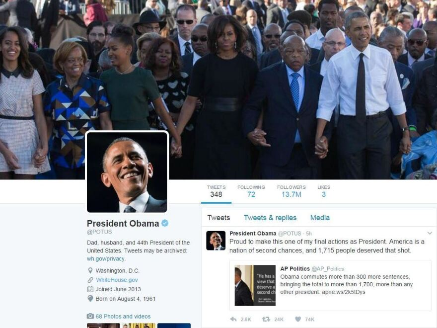Obama's @POTUS account before being switched to his successor Donald Trump.