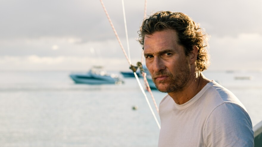 Matthew McConaughey, looking none too serene, plays Baker Dill — no, seriously — in <em>Serenity</em>.