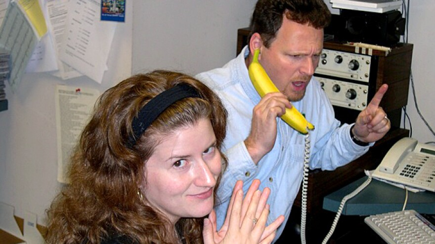 <em>Morning Edition</em> staff, including Melissa Gray and Barry Gordemer, shown here in 2002, aren't immune to mistakes — or sheer silliness.