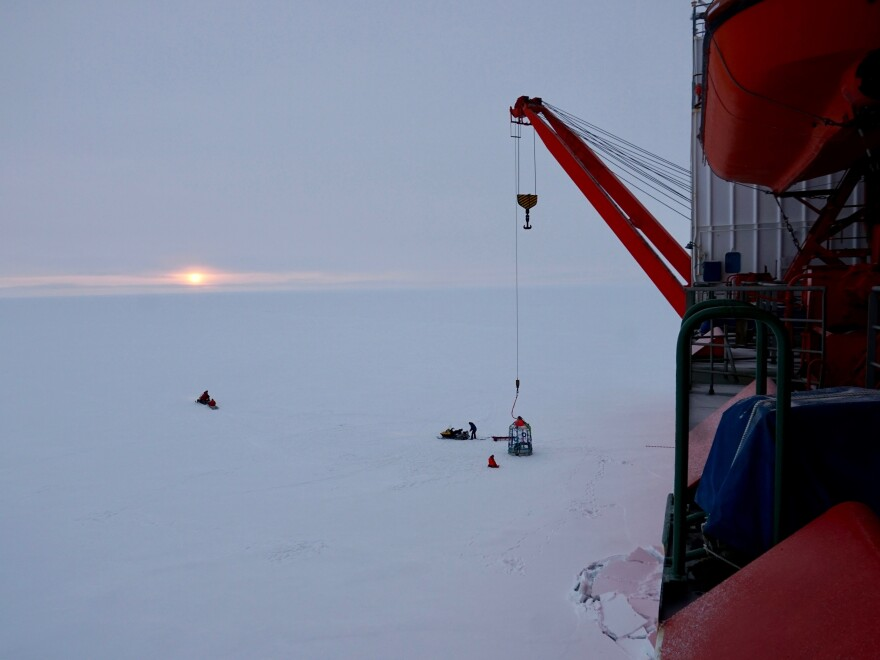 Ice thickness surveys were conducted both by helicopter and by using an electromagnetic sensor pulled on a sled by a snowmobile.