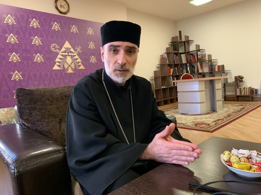 "Gevorg Vardanyan is a priest at the Armenian Apostolic cathedral in Moscow. ""A religious person never wants to kill and never should kill,"" he says. ""There is no need for war; war is there where there is no God."""