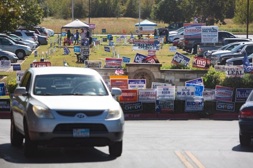 Election signs at a polling site in Williamson County.