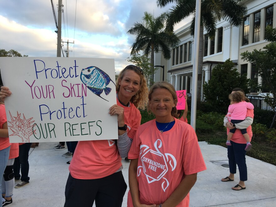 Dozens of Key Westers came to City Hall Tuesday to support the proposed ban on the sale of some sunscreens, including Joyce Milelli, left, and Melissa Hitchings.