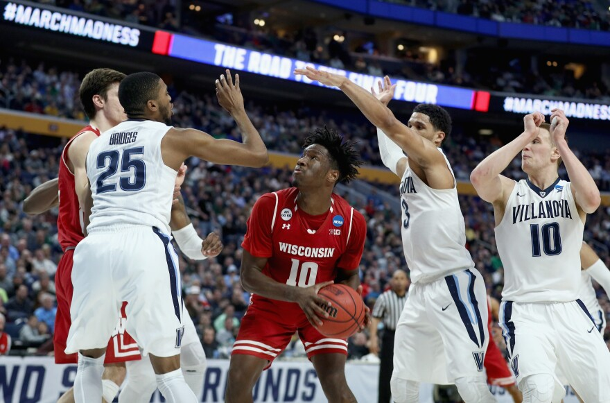 Nigel Hayes, #10, helped drive Wisconsin to a win with a tie-breaker layup against Villanova during the second round of the 2017 NCAA Men's Basketball tournament at KeyBank Center on Saturday, in Buffalo, N.Y.