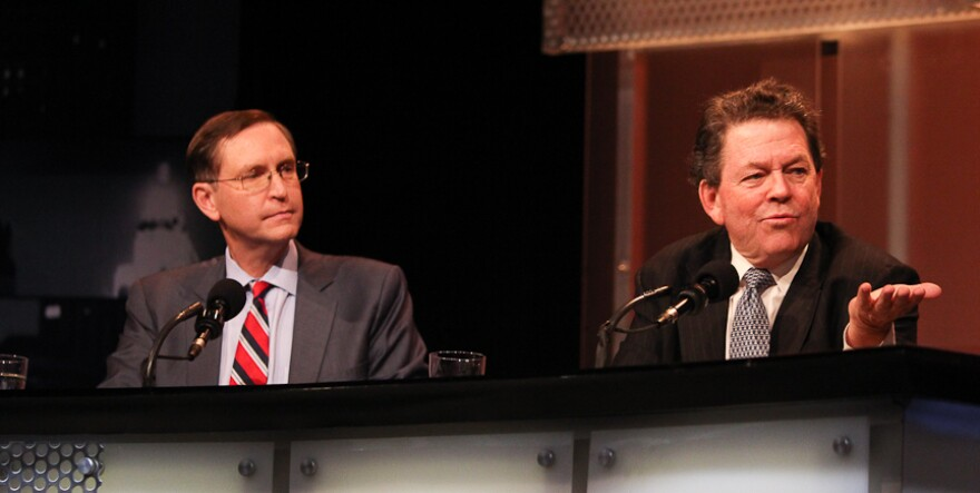 """Panelists Glenn Hubbard (left) and Arthur Laffer argue for the motion """"The Rich Are Taxed Enough."""""""