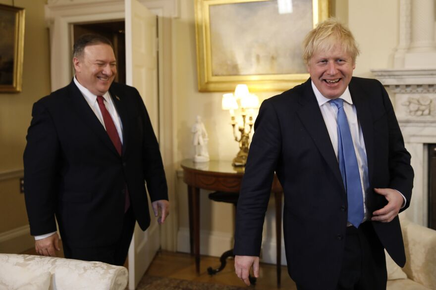 Secretary of State Mike Pompeo (left) meets with British Prime Minister Boris Johnson at Downing Street in London on Thursday.