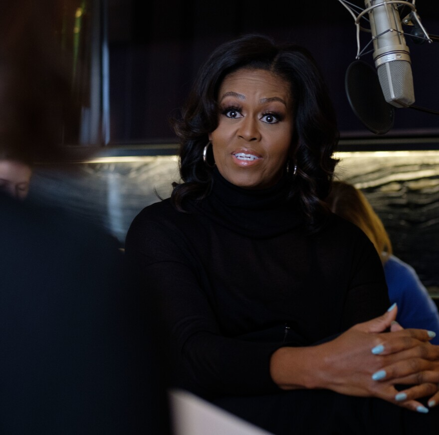 NPR host Audie Cornish interviews former first lady Michelle Obama about her memoir <em>Becoming</em> in Chicago, Ill., Nov. 2.