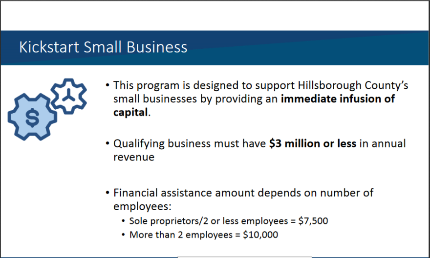 This is a slide on Hillsborough County's R3 grant to help small business owners.
