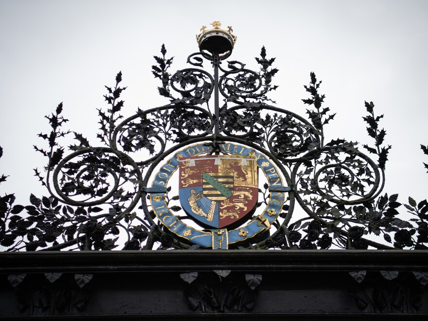 """The gates of the Sandringham Estate where Prince Harry met on Monday with Queen Elizabeth II, Prince Charles and Prince William to discuss the decision of Harry and his wife, the former Meghan Markle, to """"step back"""" from the responsibilities of being """"senior royals."""""""
