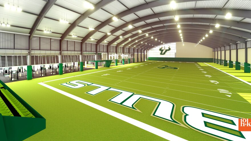 Artist's rendering of proposed indoor USF football facility.
