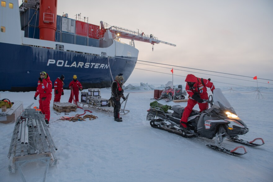 Hundreds of researchers are taking turns spending two months aboard the icebreaker Polarstern, as it drifts with the Arctic sea ice in which it is stuck - deliberately.