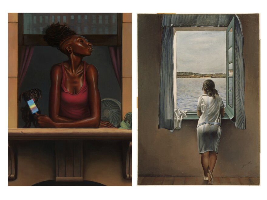 NPR asked our audience to find inspiration in — and then write an ekphrastic poem about — two paintings: <em>Heat Wave</em> by Kadir Nelson (left) and <em>Young Woman At A Window </em>by Salvador Dali.