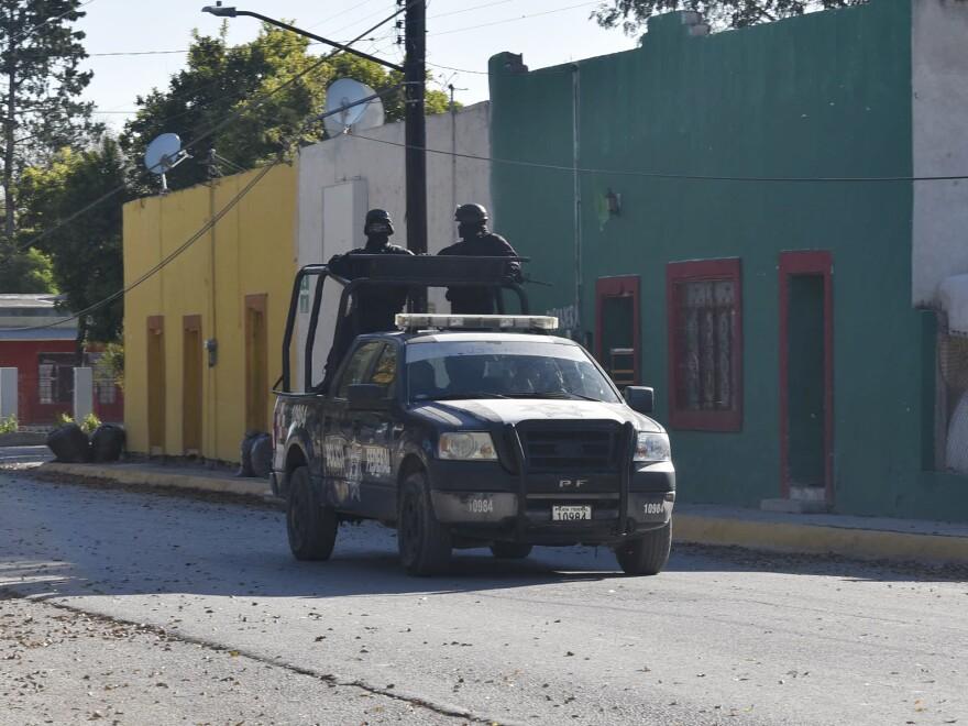 Police patrol VIlla Union, Mexico