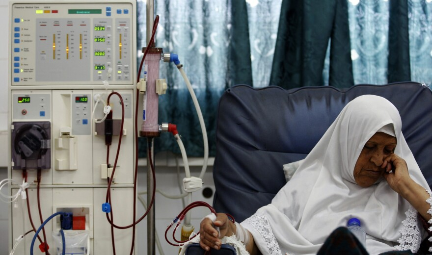 A Palestinian dialysis patient is treated at the Shifa hospital in Gaza City in 2010. Many kidney patients in Gaza struggle to get proper dialysis therapy because machines are often overbooked.