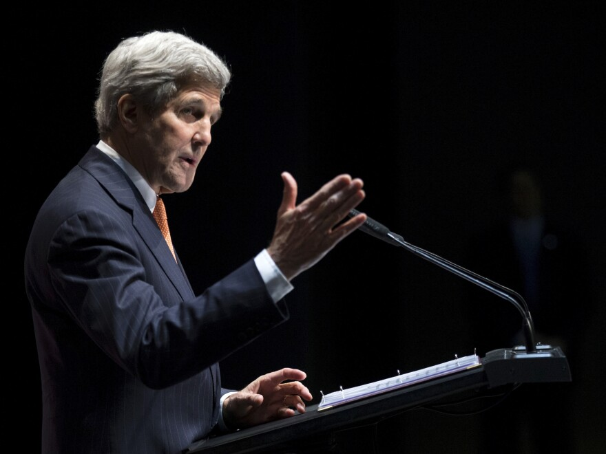 Secretary of State John Kerry delivers a statement about the recently concluded round of negotiations with Iran over their nuclear program at the International Olympic Museum in Lausanne, Switzerland, on Saturday.