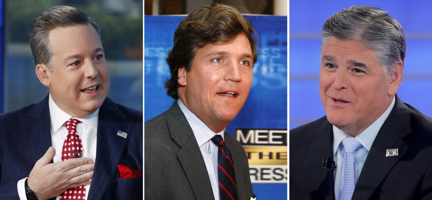 Former Fox News anchor Ed Henry (from left) and high-profile hosts Tucker Carlson and Sean Hannity are all named in a lawsuit alleging different instances of sexual misconduct.