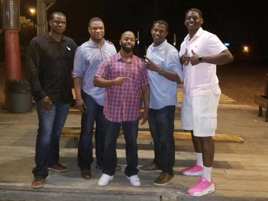 Anthony Stephan House, left, with his former Pflugerville High classmates Lee Rusk, Kevin Cotton, Jeff Lewis and Norrell Waynewood at their 20-year class reunion in 2016.