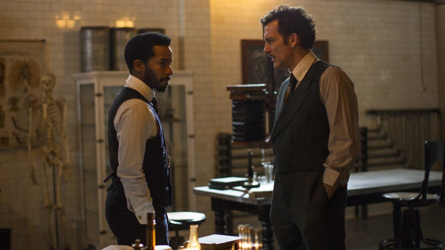 Andre Holland (left) and Clive Owen get serious in Episode 3 of the second season of <em>The Knick. </em>