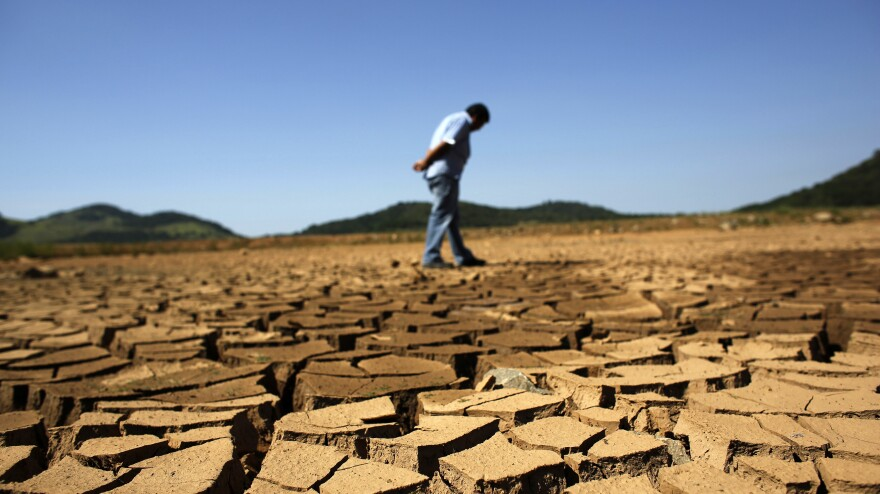 The ground outside Sao Paulo is cracked and dry. It was the hottest January on record in parts of Brazil, and the heat plus a severe drought has fanned fears of water shortages and crop damage.
