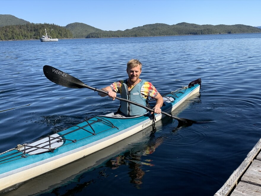 Southeast Exposure tour manager Jared Gross pushes off from his dock in Ketchikan, Alaska. The company is expecting a significant downturn in kayak rentals this summer because of the lack of cruise ships.