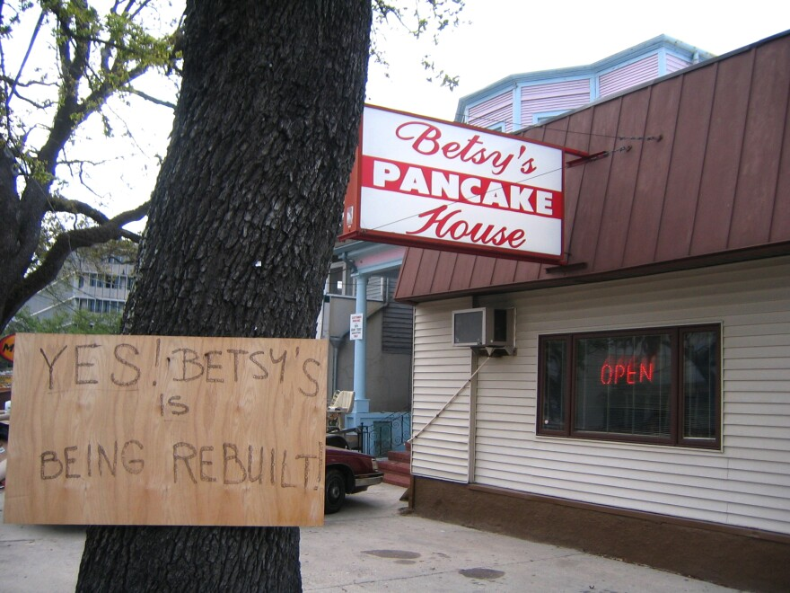 Betsy's Pancake House on Canal Street in New Orleans announces its return to business after Hurricane Katrina.