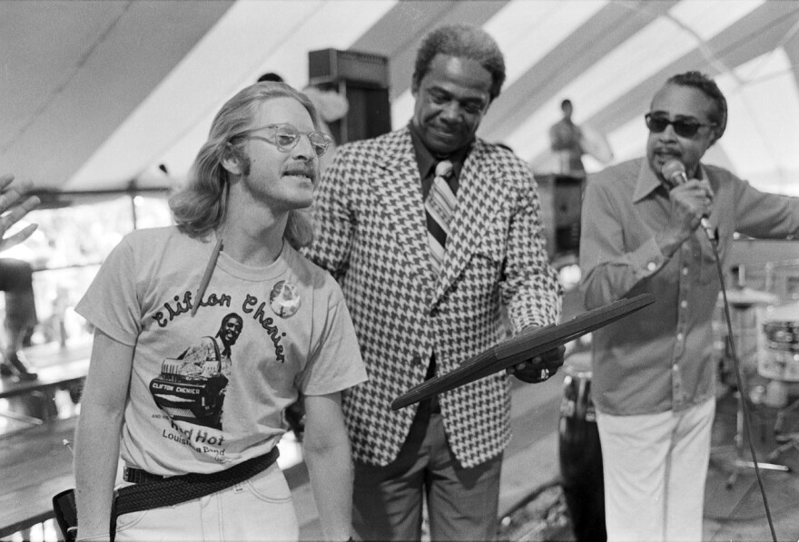 """A Jazz Fest tableau from 1977. Left to right: A youthful Quint Davis, Gospel Tent godfather Sherman Washington and radio DJ Vernon """"Dr. Daddy-O"""" Winslow."""