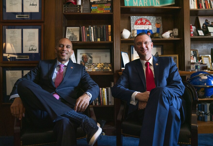 From left, Rep. Hakeem Jeffries, D-N.Y., and Rep. Doug Collins, R-Ga., are receiving the 2019 Civility Award by Allegheny College for teaming up on criminal justice reform.