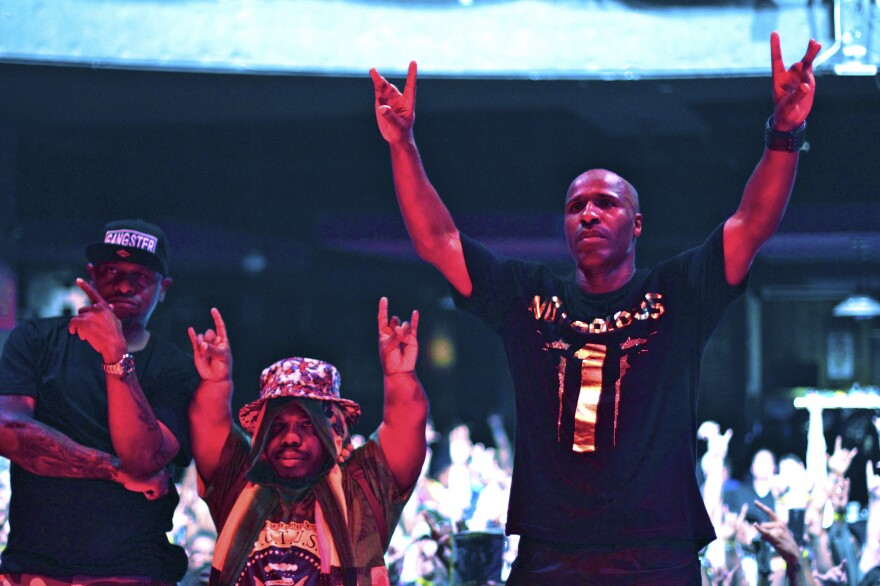 Left to right: Scarface, Bushwick Bill and Willie D of the Geto Boys perform in Houston in 2015.