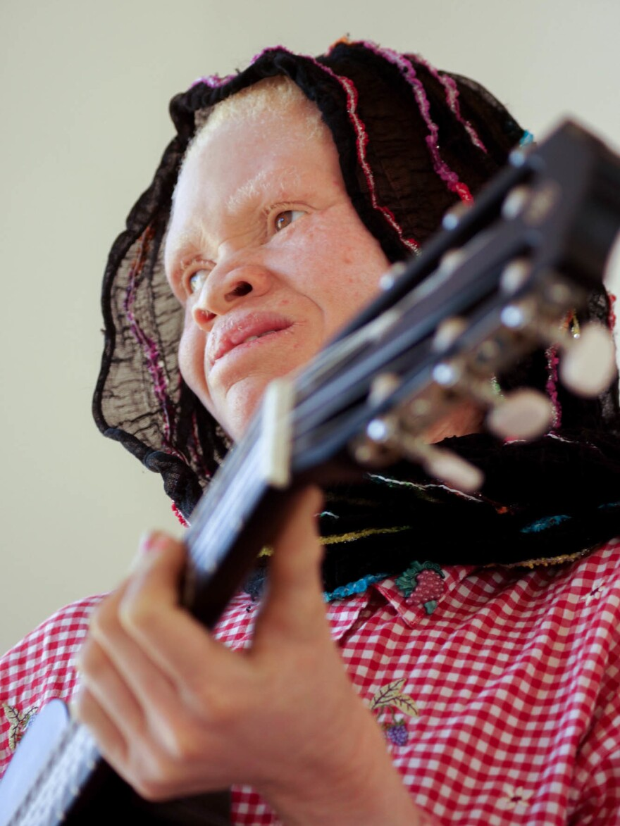 """Thereza Phinias, a member of the Tanzania Albinism Collective, wrote a song called """"Happiness."""""""