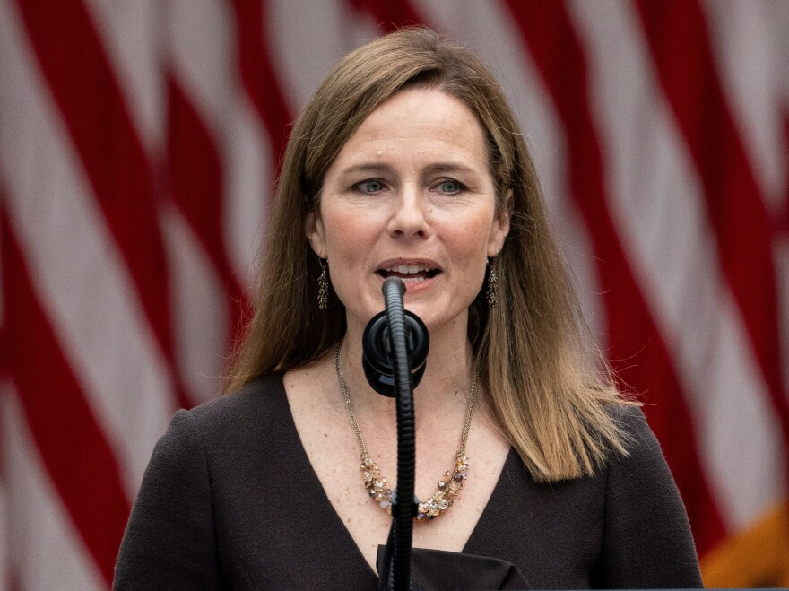 Judge Amy Coney Barrett speaks after President Donald Trump announced her as his nominee to the Supreme Court, in the Rose Garden at the White House on Sept. 26.