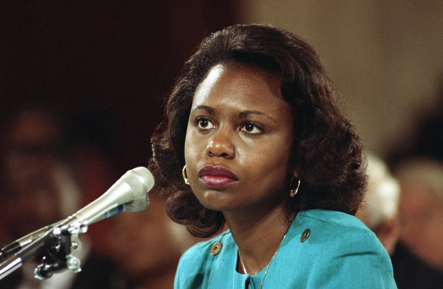 Anita Hill, then a professor at the University of Oklahoma law school, testifies in 1991 that she was sexually harassed by then-Supreme Court nominee Clarence Thomas.