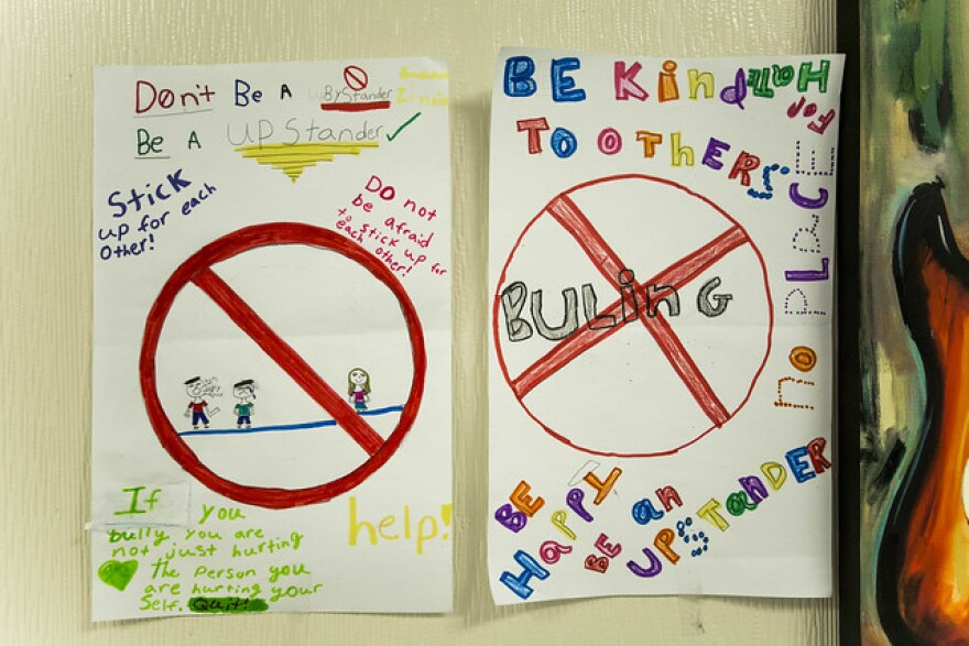 Anti-bullying posters hang on the wall at Ortega Elementary School in 2017.