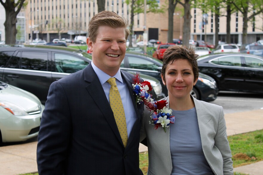 St. Louis Aldermen Jack Coatar, D-7th Ward, and Cara Spencer, D-20th Ward, pose for a picture last Tuesday. The two youngish aldermen joined the Board for the first time last week.