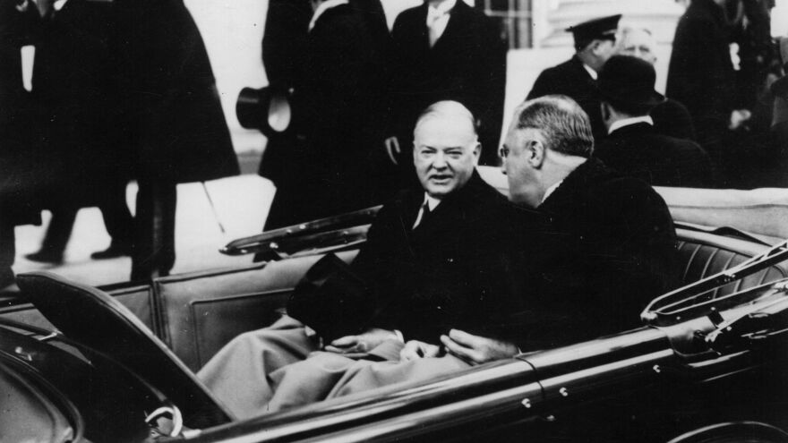 Herbert Hoover (left), the 31st president, leaves the White House on March 16, 1933, with Franklin D. Roosevelt for the latter's inauguration as the 32nd president.